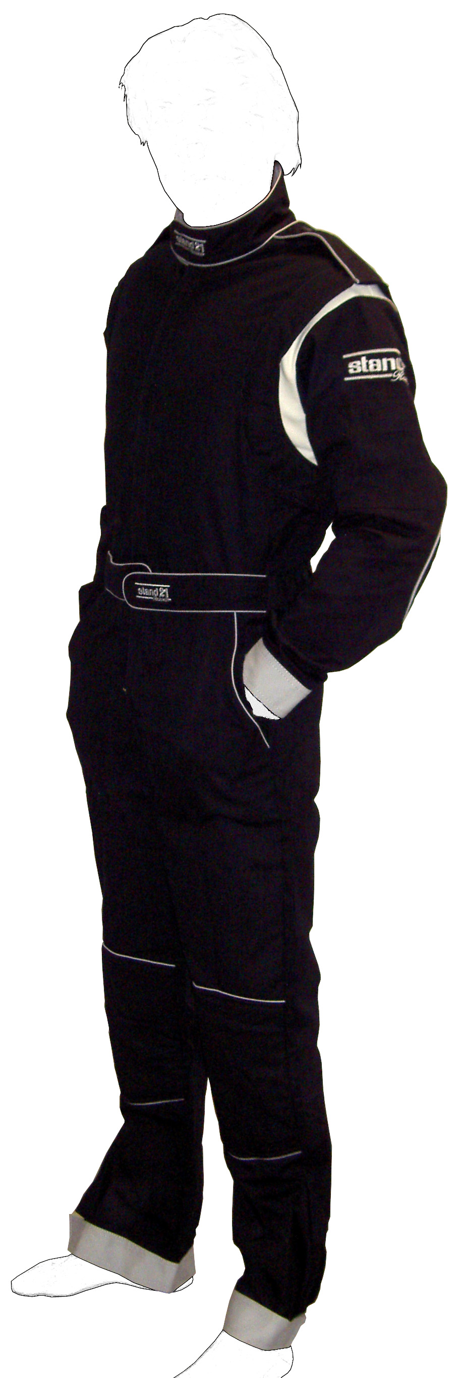 Stock black with grey piping K09 go-kart suit