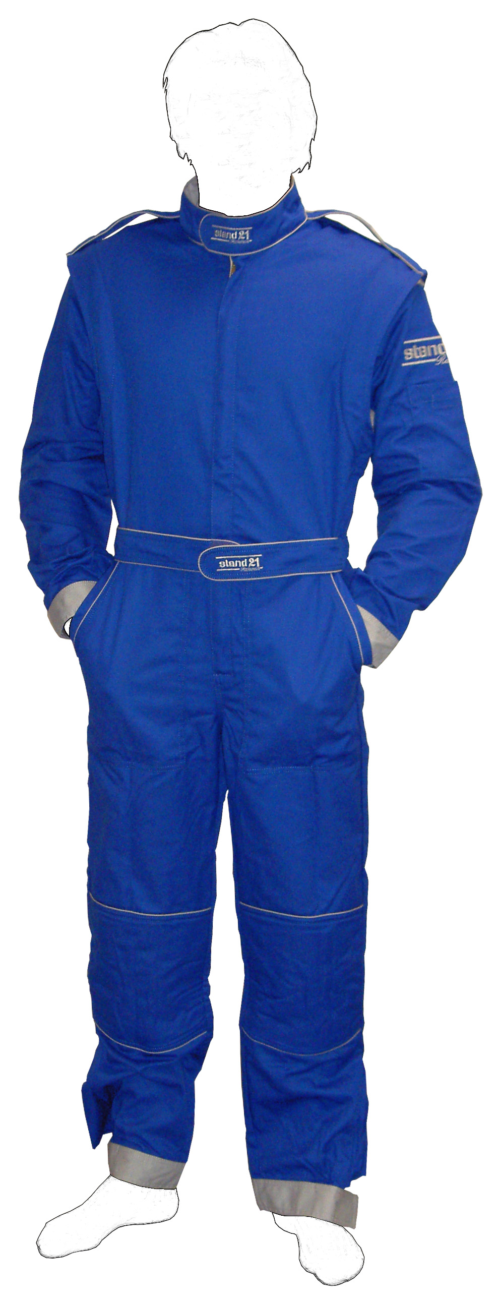 Stock royal blue with grey piping K09 go-kart suit