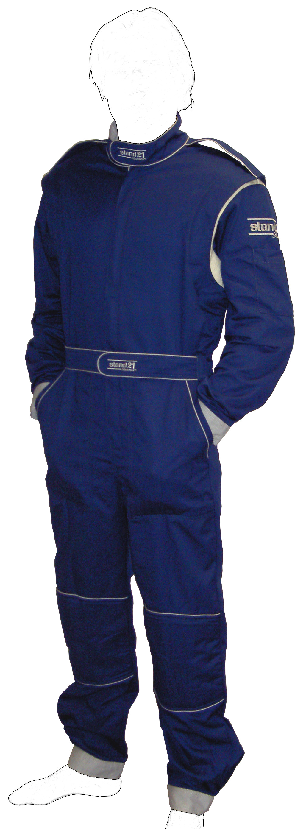 Stock Navy blue with grey piping K09 go-kart suit